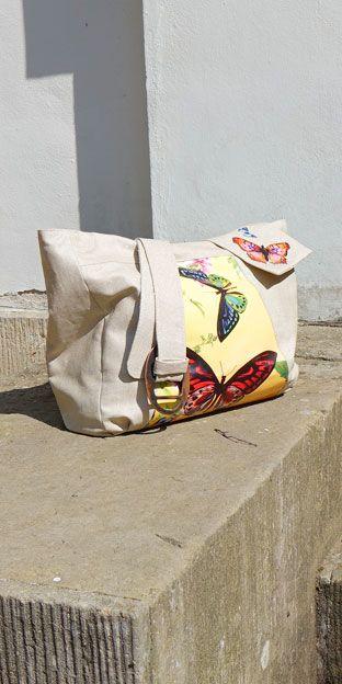 Anleitung für eine Handtasche mit Schmetterlingsmotiv
